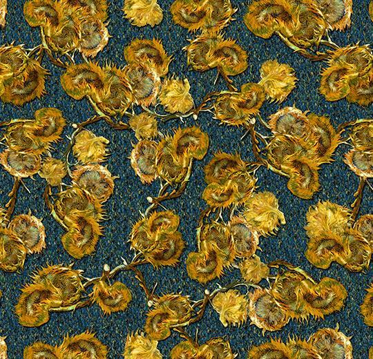 güneş çiçeği desenli antibakteriyel leke tutmayan rulo halı