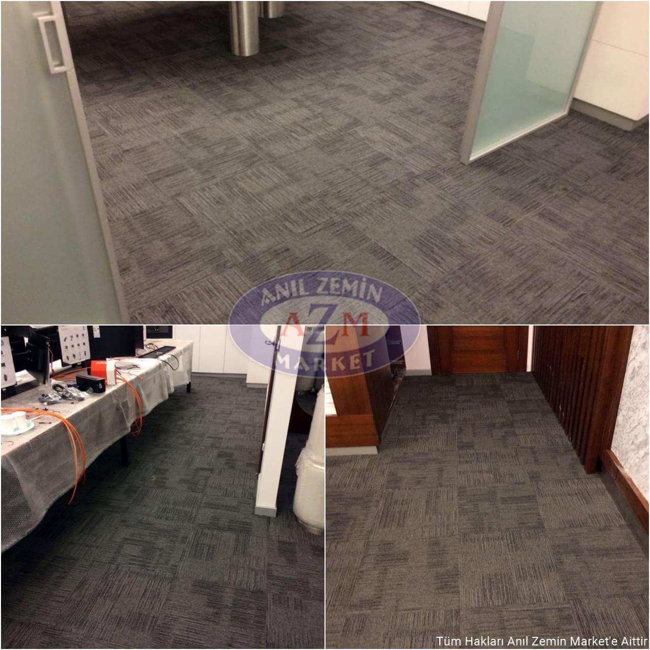 Gri desenli karo halı ofis uygulaması