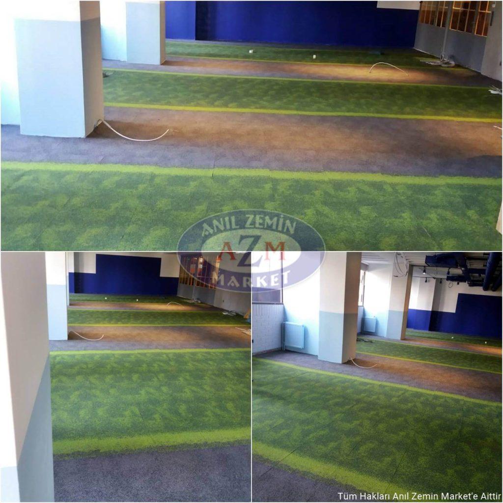 gri yeşil desenli ofis halısı