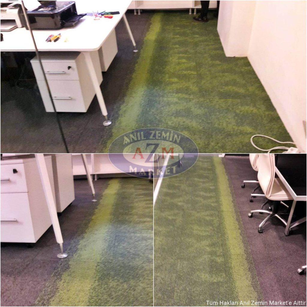 Yeşil desenli karo ofis halısı