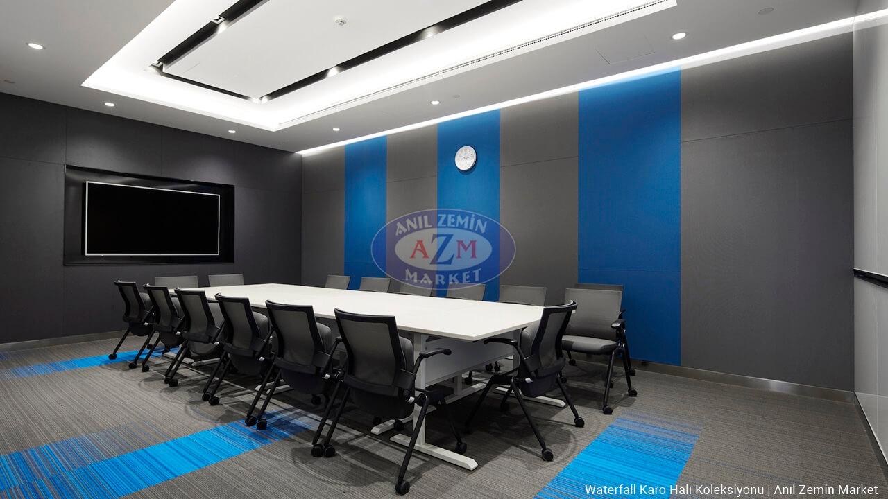 mavi ve gri karo ofis halı tasarımı