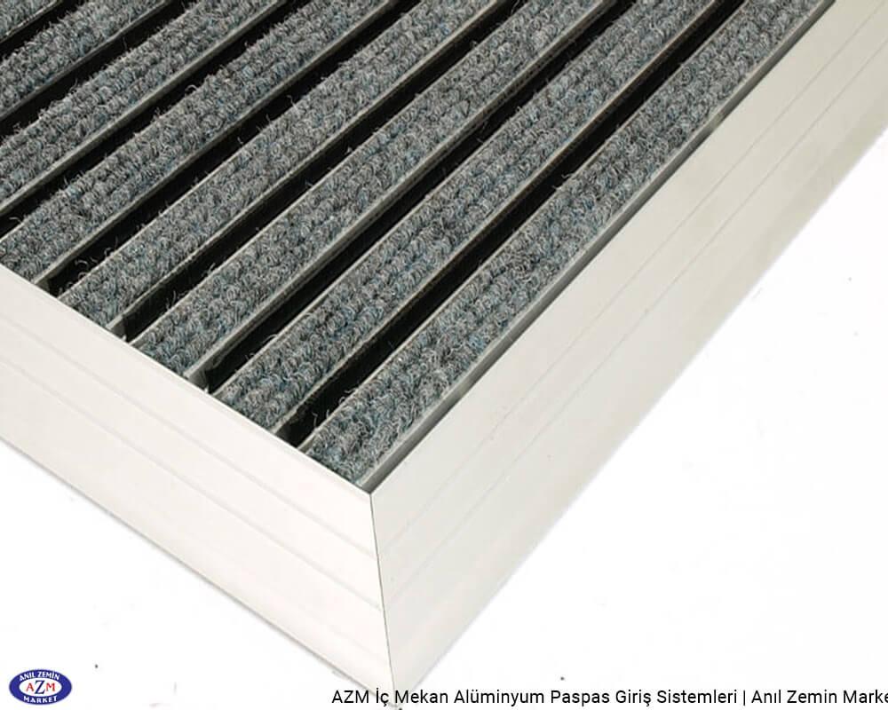 AZM Pearl 75.0123 Alüminyum Gövdeli Rip Halılı+Fırçalı Paspas - standart ölçü