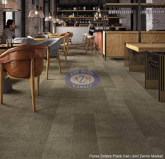 flotex ombre plank karo halı uygulama 149004 moraine
