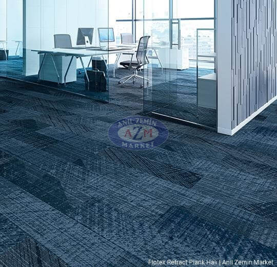 flotex refract plank karo halı uygulama 137002 firoza