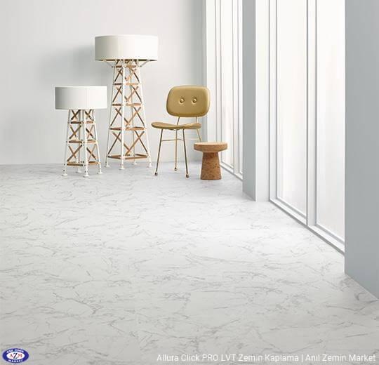 Allura Click Pro beyaz mermer desenli pvc vinil LVP-LVT zemin kaplama - 63450CL5 white marble1