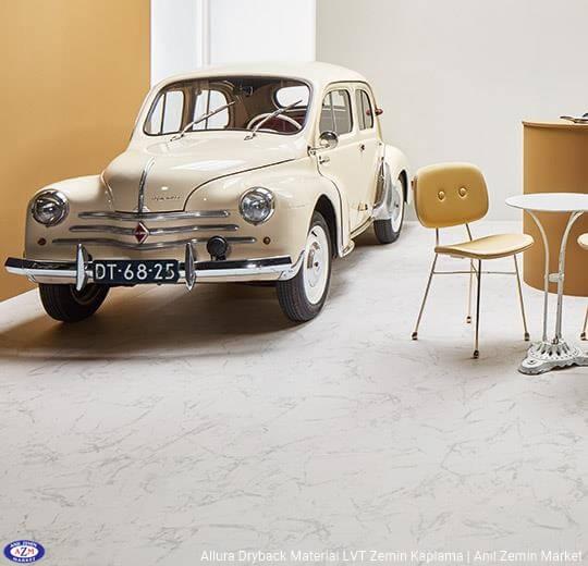 Allura Dryback Material beyaz mermer desenli LVT zemin kaplama 63451DR7-63451DR5 white marble (100x100cm)1