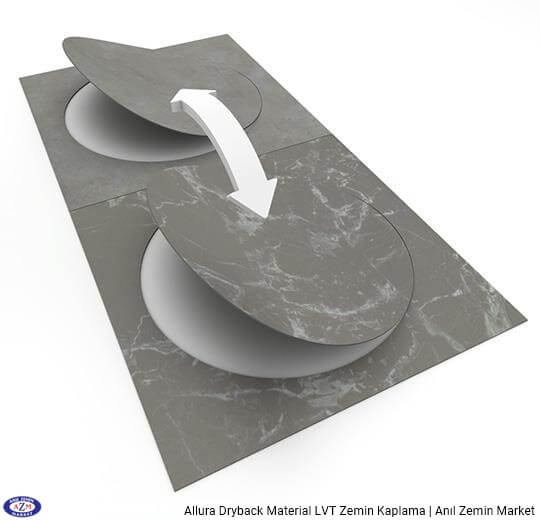 Allura Dryback Material gri mermer desenli LVT zemin kaplama 63552DR7 grey marble circle1