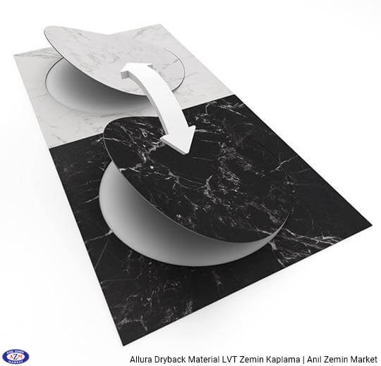 Allura Dryback Material siyah mermer desenli pvc vinil LVT zemin kaplama 63544DR7 black marble circle1