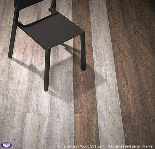 Allura Dryback Wood Ahşap desenli LVT zemin kaplama 60150DR7-60150DR5 brown raw timber1