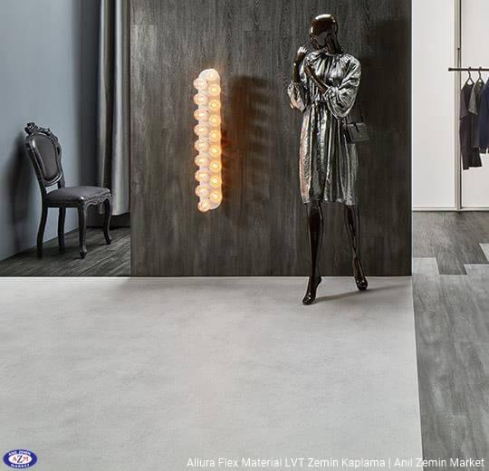 Allura Flex Material açık renk beton desenli esnek vinil LVT zemin kaplama 63427FL1-63427FL5 light cement