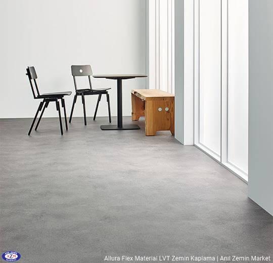Allura Flex Material koyu gri beton desenli esnek vinil pvc LVT zemin kaplama 63429FL1-63429FL5 iron cement