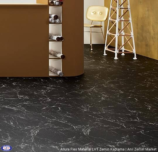 Allura Flex Material siyah mermer desenli esnek vinil LVT zemin kaplama 63455FL1-63455FL5 black marble