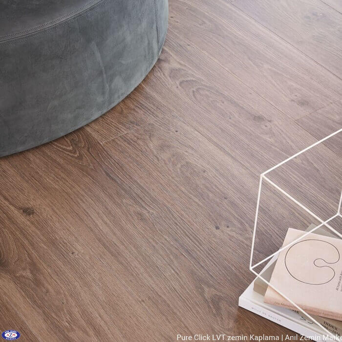 Pure click ahşap desenli karo pvc vinil LVP LVT zemin kaplama Authentic Oak Brown