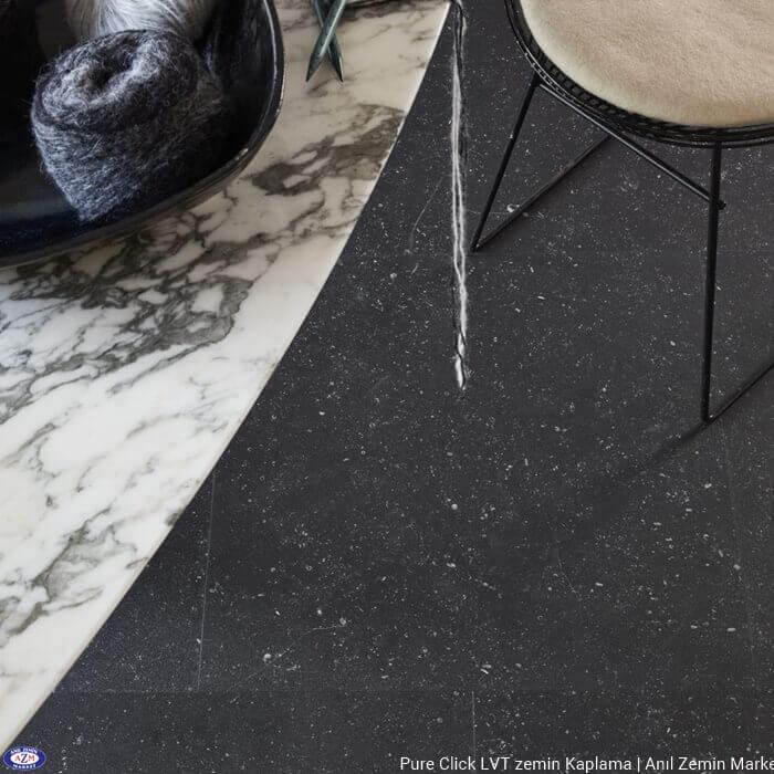 Pure click taş beton mermer desenli karo pvc vinil LVT zemin kaplama Bluestone Dark