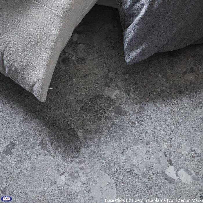 Pure click taş beton mermer desenli karo pvc vinil LVT zemin kaplama Terrazzo Light Grey