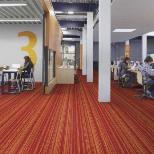 kırmızı çizgili leke tutmayan antibakteriyel ofis halısı
