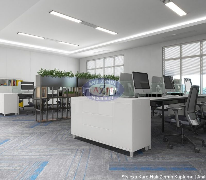 AZM Polipropilen PP Ofis Karo Halı uygulama Stylexa-6005-3