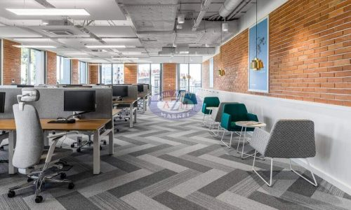 Tessera karo halı gri polyamid ofis halısı (3)