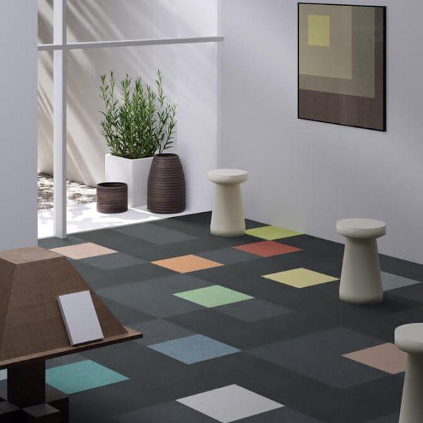 Voxflor karo halı Mere Color desen uygulama E01 G01 I01 J01 K01 L01 H01 H02