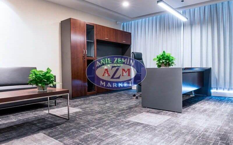 gri desenli ofis karo halı
