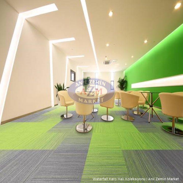 yeşil ve gri karo halı ofis