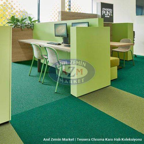 yeşil kombin karo halı ofis tasarımı - forbo flooring