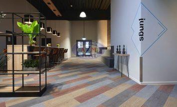 flotex wood plank karo halı uygulama - Beckum Spor salonu 2