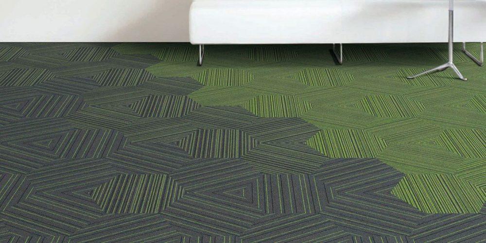 yeşil ve siyah desenli karo ofis halısı istanbul