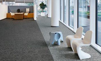 siyah ve gri karo halı - forbo flooring