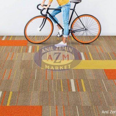 bej, kırmızı çizgili desenli karo ofis halı